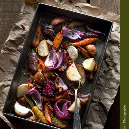 Roasted Vegetables with Mustard Seed and Bacon