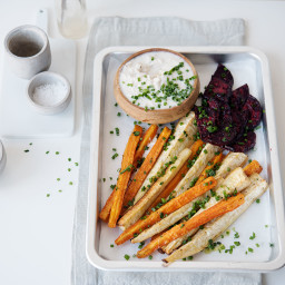 Roasted vegetables with trout dip