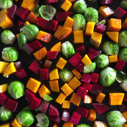 Roasted Veggies: Brussels Sprouts, Sweet Potato, and Beets