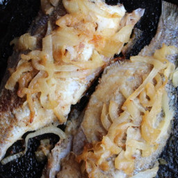ROASTED WHITE BASS WITH CARAMELIZED ONIONS and CREME FRAICHE