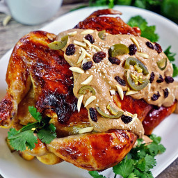 Roasted Chicken with Almond Banana Mole (Pollo asado con Almendra plátano M