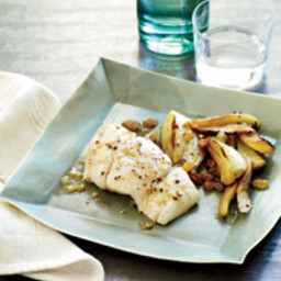 Roasted Halibut with Wine-Braised Fennel