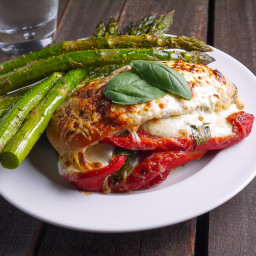 Roasted Red Pepper Mozzarella and Basil Stuffed Chicken
