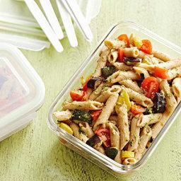 Roasted Vegetable Pasta Salad with Walnut Pesto
