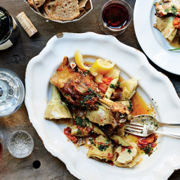 Roast Lamb with Artichokes and Lemons