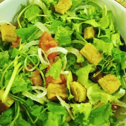 Romaine Salad with Cornbread Croutons & Buttermilk Garlic Dressing