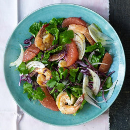 Romaine Salad with Grapefruit and Shrimp