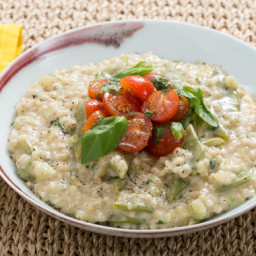 Romano Bean and Barley Risottowith Marinated Cherry Tomatoes and Basil