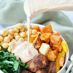 Root Vegetable Power Bowl with Roasted Garlic Tahini Dressing