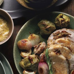 Rosemary and Mustard Pork Loin with Baby Artichokes, Shallots, and Vermouth