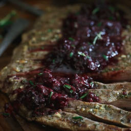Rosemary Garlic Flank Steak with Tangy Blackberry Sauce