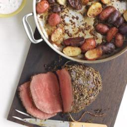 Rosemary-Garlic Roast Beef and Potatoes with Horseradish Sauce