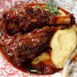 Rosemary lamb shanks braised in red wine