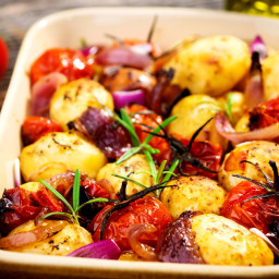Rosemary Potato Bake with Onions and Tomatoes