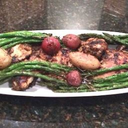 Rosemary Roasted Chicken Thighs, New Potatoes, Asparagus and Garlic