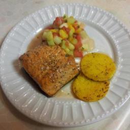 Rosemay Salmon with Fresh Fruit Salsa