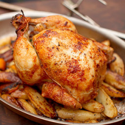 Rotisserie Chicken with Lemon, Garlic and Fresh Bay Leaves