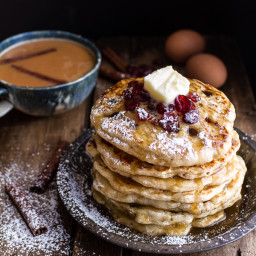 Rum and Cranberry Pancakes with Butter Rum Syrup