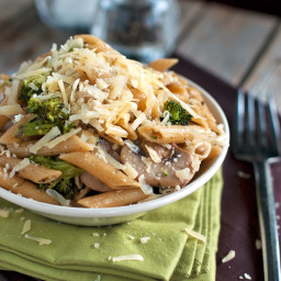 Rustic Garlic Butter Pasta with Roasted Broccoli and Sauteed Mushrooms