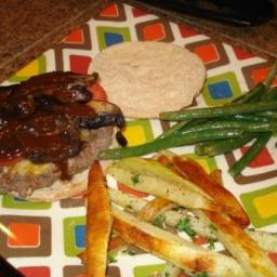 Ryan' Buffalo Burgers, Fries and Gree Beans