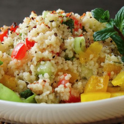 Salad with couscous and feta cheese
