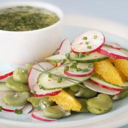 Salade de fèves, concombre, radis et orange