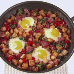 Salami, Bacon and Spinach Hash