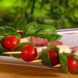 Salami, Mozzarella and Basil-Tomato Skewers