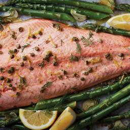 Salmon and asparagus sheet pan dinner