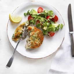 Salmon and broccoli cakes with watercress, avocado and tomato salad