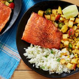 Salmon and Cilantro-Lime Ricewith Peach and Corn Salsa