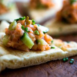 Salmon and Cucumber Tartare With Wasabi Sauce