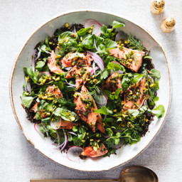 Salmon and Grains Salad with Pistachio Salsa Verde