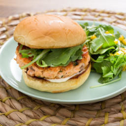 Salmon Burgers and Corn on the Cobwith Basil Butter