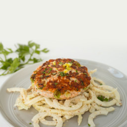Salmon Burgers with Kohlrabi Noodle and Flaxseed Caesar Salad