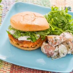 Salmon Burgerswith Crème Fraîche Sauce, Arugula and Potato Salad