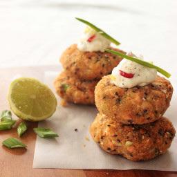 Salmon Cakes with Spicy Lime Yogurt Dip