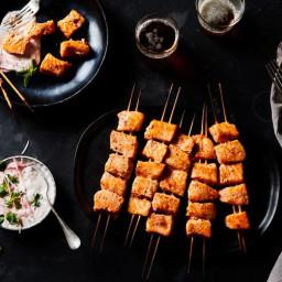Salmon Kebabs with Radish Raita