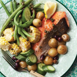 Salmon Nicoise with Caper Dressing