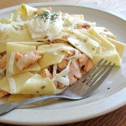 Salmon on pasta