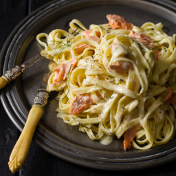 Salmon Pasta and Lemon Cream Sauce