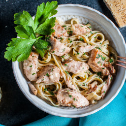 Salmon Pasta with a Creamy Garlic Sauce