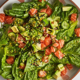 Salmon Poke on Greens with Wasabi Peas