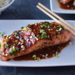 Salmon, roasted, with black bean sauce