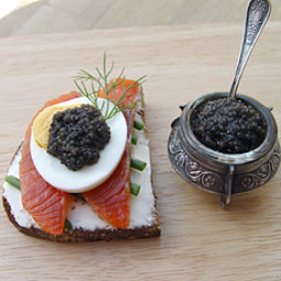 Salmon Sandwich with Black Caviar