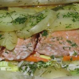 Salmon, sesame-ginger en Papillote