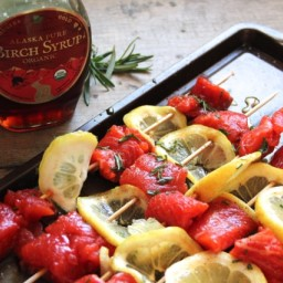 Salmon Skewers with Rosemary Birch Syrup