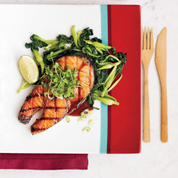 Salmon Steaks with Soy-Maple Glaze