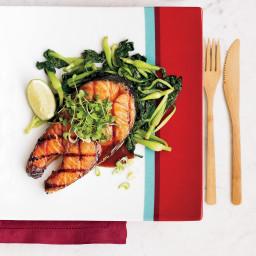 Salmon Steaks with Soy-Maple Glaze