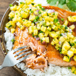 Salmon Teriyaki with Pineapple Salsa